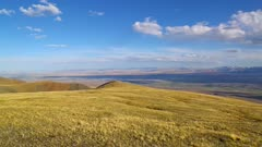 Chuya River Valley landscape in the Altai Mountains at sunset, pan view