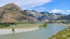 Katun River in Altai mountains, Russia, timelapse, 4k