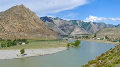 Katun River in Altai mountains, Russia, 4k