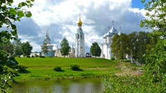 View of Vologda city center with Kremlin and Cathedral, 4k