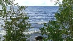 Shore of Onega lake in Karelia, Russia, 4k