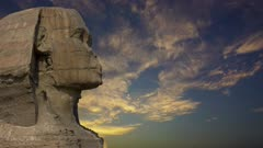 Sphinx head and sunset clouds at Giza Cairo in Egypt - timelapse, 4k