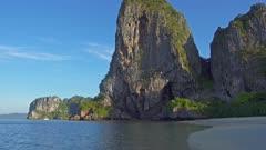 Landscape with tropical beach (Pranang beach) and rocks, Krabi, Thailand, 4k