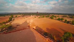 Flying over Temples in Bagan at morning, Myanmar (Burma), 4k