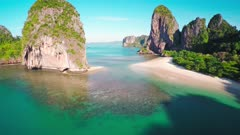 Aerial view on tropical beach (Pranang beach) and rocks, Krabi, Thailand, 4k