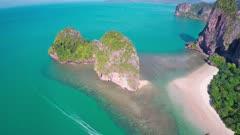 Aerial view on tropical beach (Pranang beach) and rocks, Krabi, Thailand, 4k
