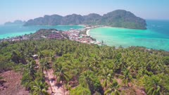Flying over Phi-Phi Don island, Krabi Province, Thailand, 4k