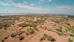 Flying up over Temples in Bagan, Myanmar (Burma), 4k