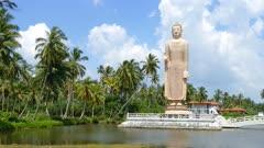 Peraliya Buddha Statue, the Tsunami Memorial in Hikkaduwa, Sri Lanka 4k