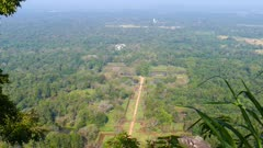 Sigiriya garden in Sri Lanka - view from top of Lion rock - 4k