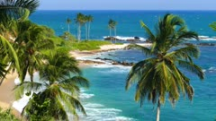 beautiful landscape with sea waves on tropical beach and coconut palms 4k