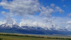 timelapse landscape with clouds moving over mountains - Altay Russia 4k