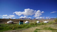 timelapse with nomadic yurt camp in Altay mountains