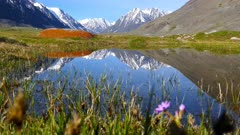 mountain landscape with lake in Altay, Russia, 4k