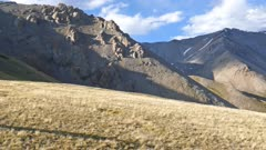 panorama of mountains peaks and valley - Altai, Russia, 4k