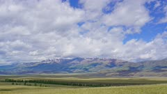 timelapse landscape with clouds moving over Altay mountains, zoom in, 4k