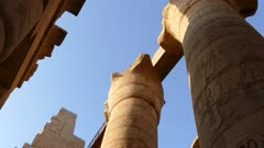 top of columns in karnak temple with ancient egypt hieroglyphics - pan view 4k
