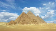 Timelapse with clouds over great pyramids at Giza Cairo in Egypt  4k