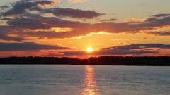 Landscape with sunset over Volga river