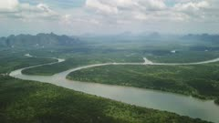 Aerial view of the Phang Nga bay with mangrove tree forest and hills in the Andaman sea, Thailand, 4k