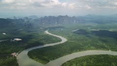 Aerial panorama view of the Phang Nga bay with mangrove tree forest and hills in the Andaman sea, Thailand, 4k