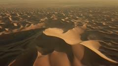 Aerial top view on sand dunes in Sahara desert, Africa, 4k