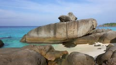 Paradise beach between rocks on Similan islands, Thailand, 4k