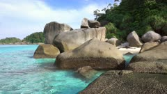 Landscape with beach and rocks on Similan islands, Thailand, 4k