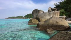 Landscape with rocks on Similan islands, Thailand, 4k