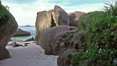 Paradise beach between rocks on Similan islands in dusk, Thailand, 4k