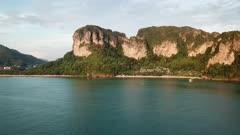Aerial panorama view of tropical turquoise lagoon, beach between rocks and islands, Krabi, Railay, Thailand, 4k