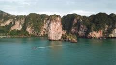 Aerial view of tropical turquoise lagoon, beach between rocks and islands, Krabi, Railay, Thailand, 4k