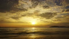 Beautiful landscape with tropical sea sunset on the beach, timelapse 4k