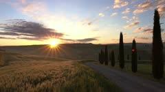 Tuscany hills landscape at sunrise, Italy, 4k