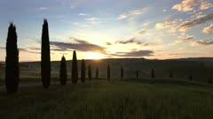Tuscany hills landscape at sunrise, Italy, timelapse 4k