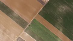 Flying over multicolor agriculture fields in Serbia, 4k