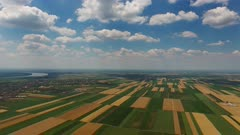 Rural aerial landscape with multicolor agriculture fields in Serbia, panorama 4k