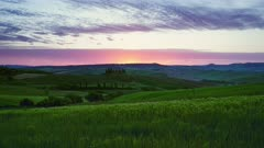 Tuscany landscape at sunrise with farm house and hills, Italy, timelapse 4k