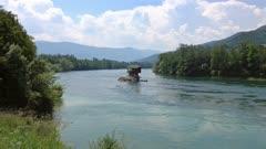 Lonely house on the Drina river in Bajina Basta, Serbia, 4k