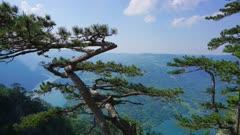 View from famous Banjska stena on Drina river in Tara National Park, Serbia, timelapse 4k