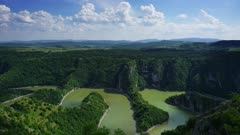 Meanders at rocky river Uvac gorge on sunny day, southwest Serbia, timelapse 4k