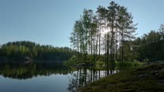 Time lapse shot of rising sun behind trees at a calm lake.