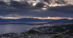 Patagonia Timelapse at Ushuaia of Andes Mountains in Argentina. 4k day to night time lapse of clouds moving over Patagonian landscape at sunset in South America.