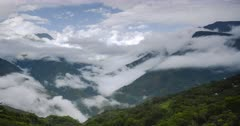 Timelapse of clouds forming in a valley in the Andes Mountains landscape of Bolivia. Time lapse of Amazon rainforest scenery in South America