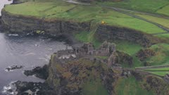 Dunluce Castle on the County Antrim Coast, Northern Ireland. Aerial drone view