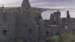 Dunluce Castle ruins, Antrim Coast, Northern Ireland. Aerial drone view