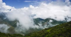 Timelapse of clouds forming in valley in Amazon Rainforest scenery in South America. Time lapse of weather of clouds forming