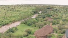 El Karama Eco Lodge, Laikipia, Kenya. Aerial drone view