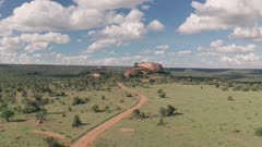 4 wheel drive on safari at Baboon Rock in Laikipia, Kenya. Aerial drone view