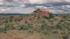 4 wheel drive adventure on wildlife safari holiday at Baboon Rock in Laikipia, Kenya. Aerial drone view